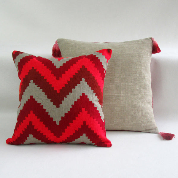 Red & Tan Wide Chevron Embroidered Square Pillow Cover