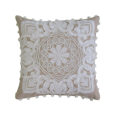 Tan & White Embroidered; Applique Work; Beaded Pillow with Insert