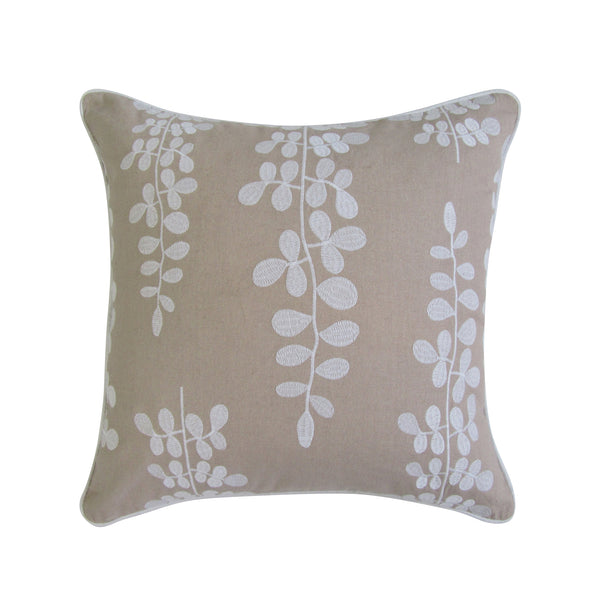 Tan and White Embroidered Pillow with Clover Design