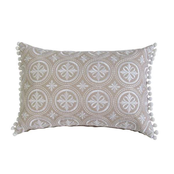 Tan & White Circle Pattern Embroidered Boudoir Pillow Cover