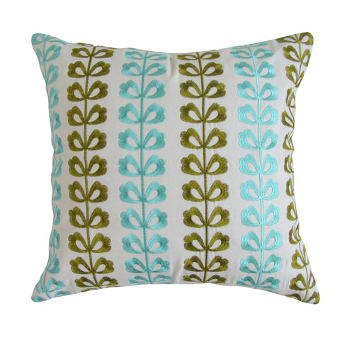 Clover Leaf Inspired Square Summer Embroidered Pillow Cover