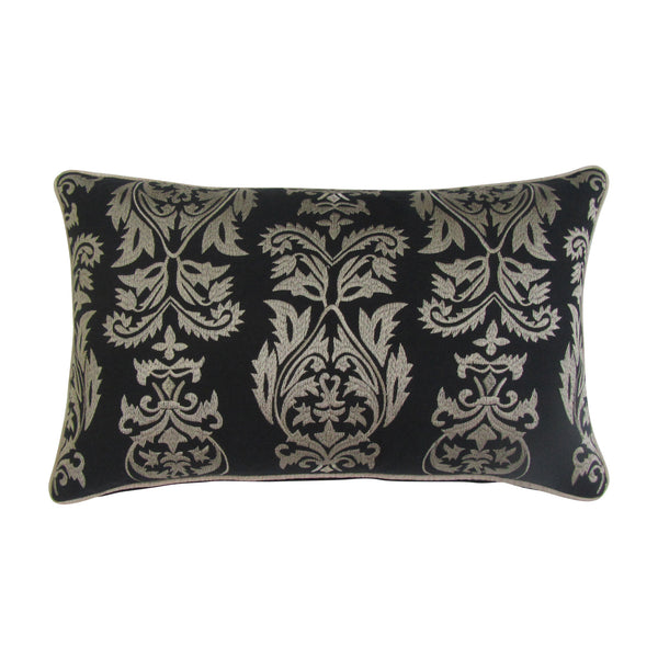 Black & Gold Embroidered Boudoir Pillow : Cover Only