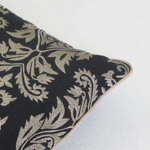 Black & Bright Tan Embroidered Boudoir Pillow : Cover Only