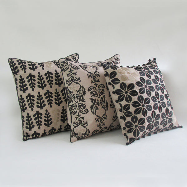 Black & Gold Floral Embroidered Square Accent Pillow Cover