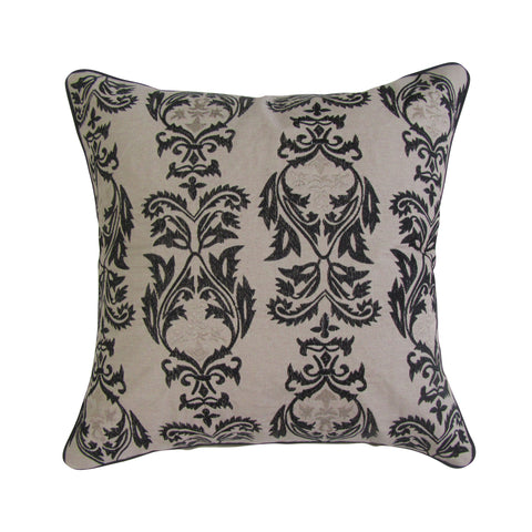 Marrakech Tile Inspired Black and Gold Embroidered Pillow