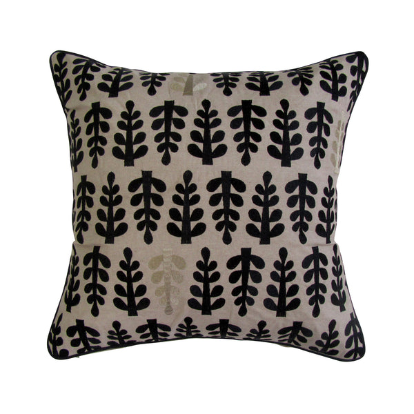 Fern Inspired Embroidered Square Accent Pillow Cover