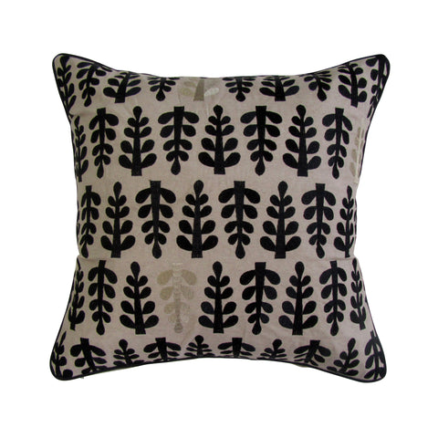Fern Inspired Embroidered Square Pillow