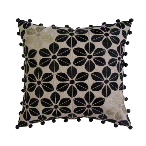 Black & Gold Floral Embroidered Square Accent Pillow with Insert