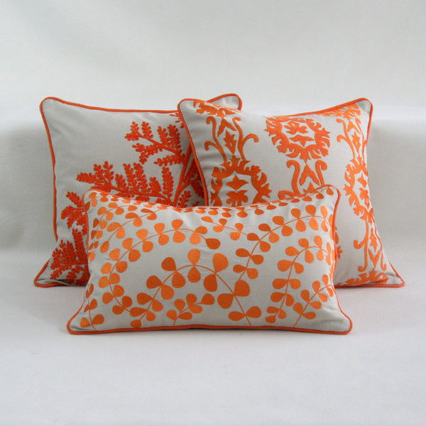Sun Inspired Orange and white collection of Embroidered Cover