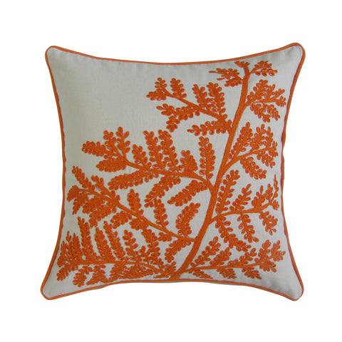 Fern inspired Orange and white collection of Embroidered Pillow