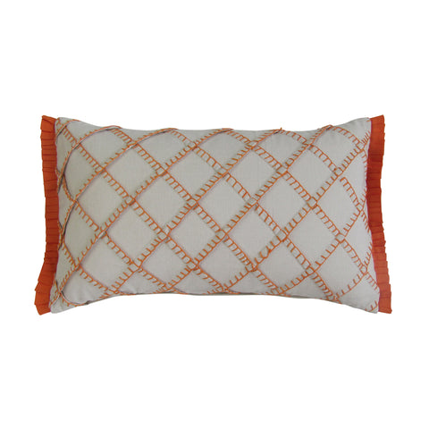Orange - Blanket Stitch Embroidered Boudoir Pillows