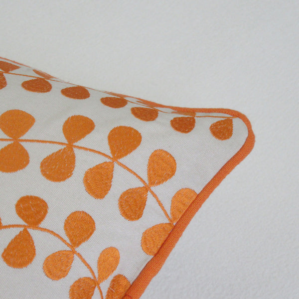 Orange and White Leaf Embroidered Boudoir Pillow