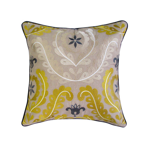 Decorative Sea Scroll Embroidered Square Pillow with Insert