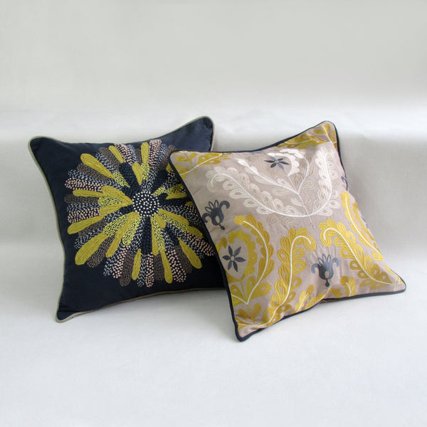 Wild Sun; Embroidered Square Accent Pillow Covers