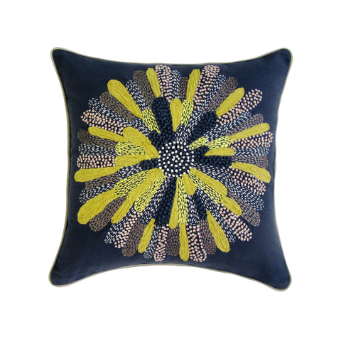 Wild Sun; Navy & Mustard Embroidered Square Pillow