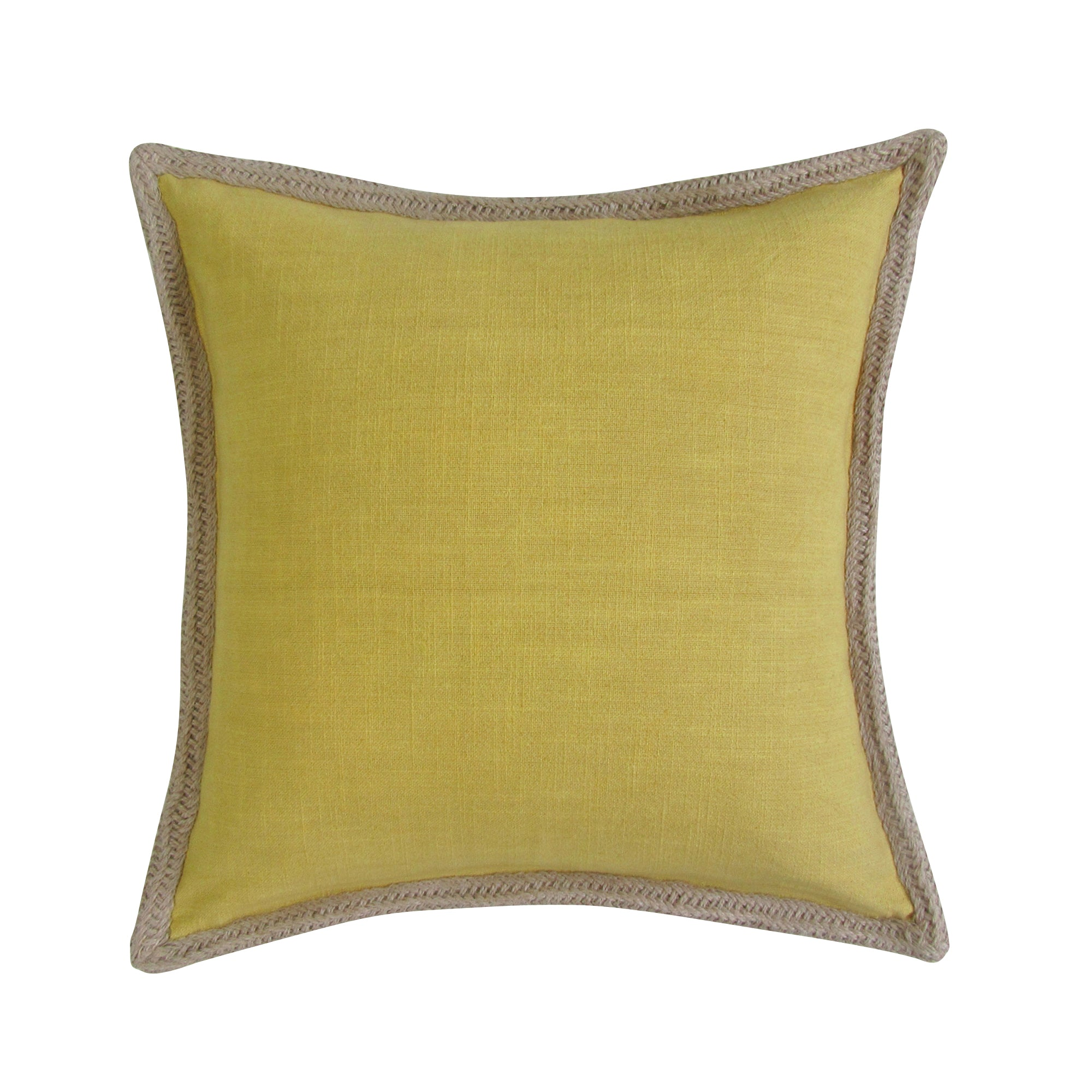 Jute Border, Square Accent Pillow - MUSTARD