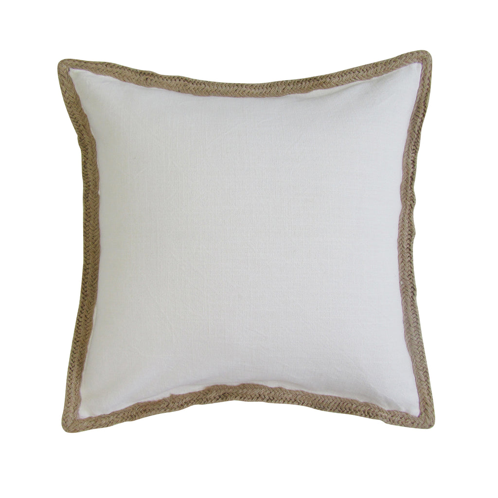 Jute Border, Square Accent Pillow with Insert - WHITE On Back Order