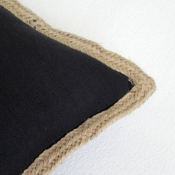 Jute Handcrafted Border, Square Accent Pillow Cover - BLACK