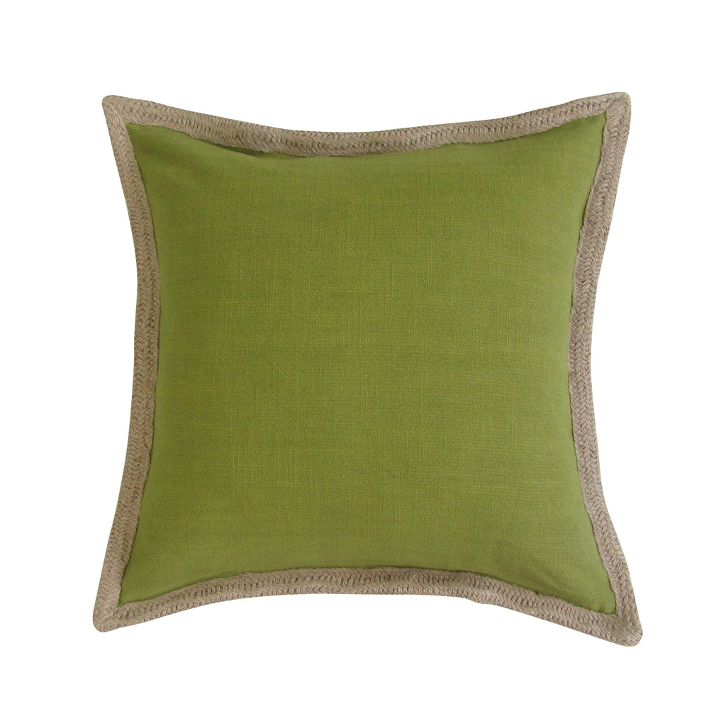 Jute Border, Square Accent Pillow with Insert - OLIVE On Back Order