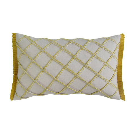 Mustard - Blanket Stitch Embroidered Boudoir Pillows