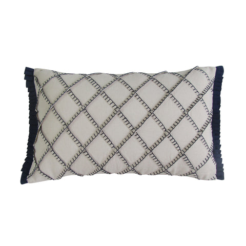 Navy - Blanket Stitch Embroidered Boudoir Pillows