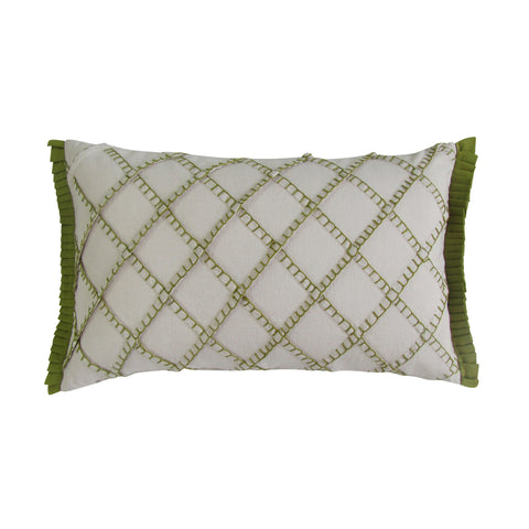Olive - Blanket Stitch Embroidered Boudoir Pillows