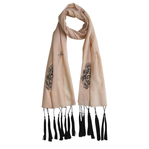 For the love of long Tassels; Embroidered Cotton Summer Scarves: Pale Pink