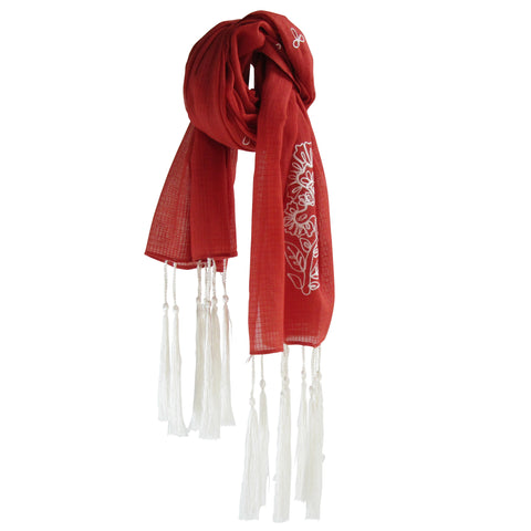 For the love of long Tassels; Embroidered Cotton Summer Scarves: Burgundy