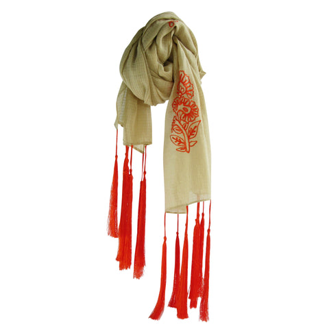 For the love of long Tassels; Embroidered Cotton Summer Scarves: Tan