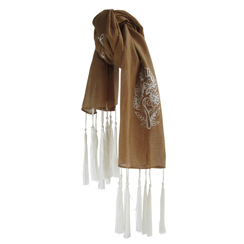 For the love of long Tassels; Embroidered Cotton Summer Scarves: Brown