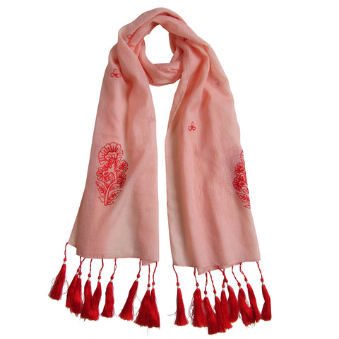 For the love of long Tassels; Embroidered Cotton Summer Scarves: Peach