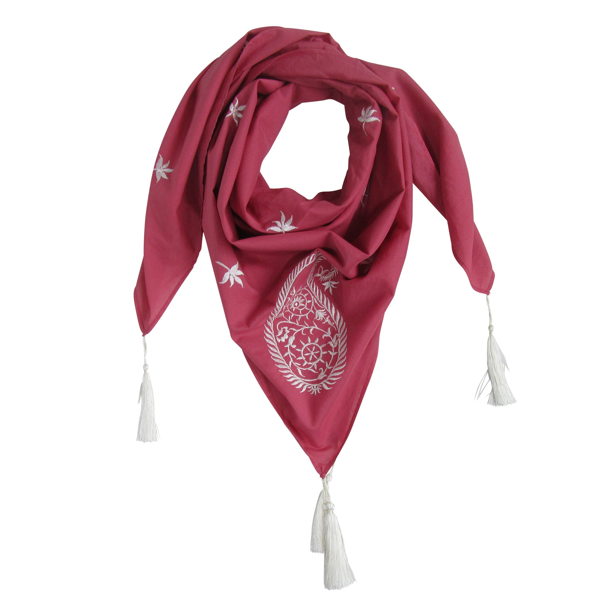 Embroidered Paisley SQUARE Scarf; Marsala