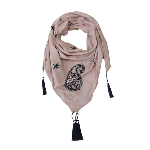 Embroidered Paisley SQUARE Scarf; Powder Pink