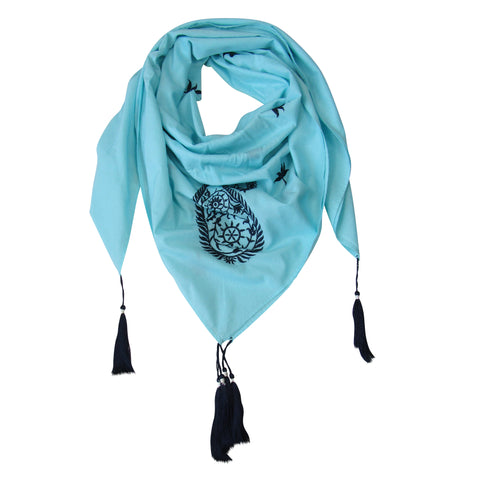 Embroidered Paisley SQUARE Scarf; Sky Blue