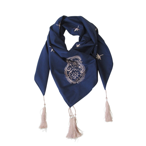 Embroidered Paisley SQUARE Scarf; Indigo