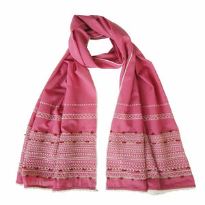 Rose Pink; Hand Embroidered Long Slim Scarf