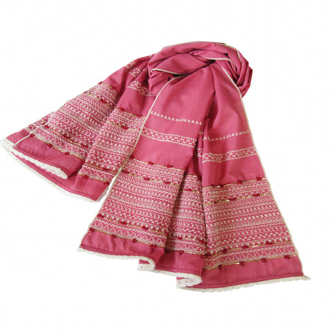 Rose Pink; Hand Embroidered Long Scarf