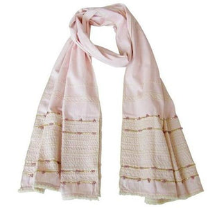Powder-Pink; Hand Embroidered Long Slim Scarf