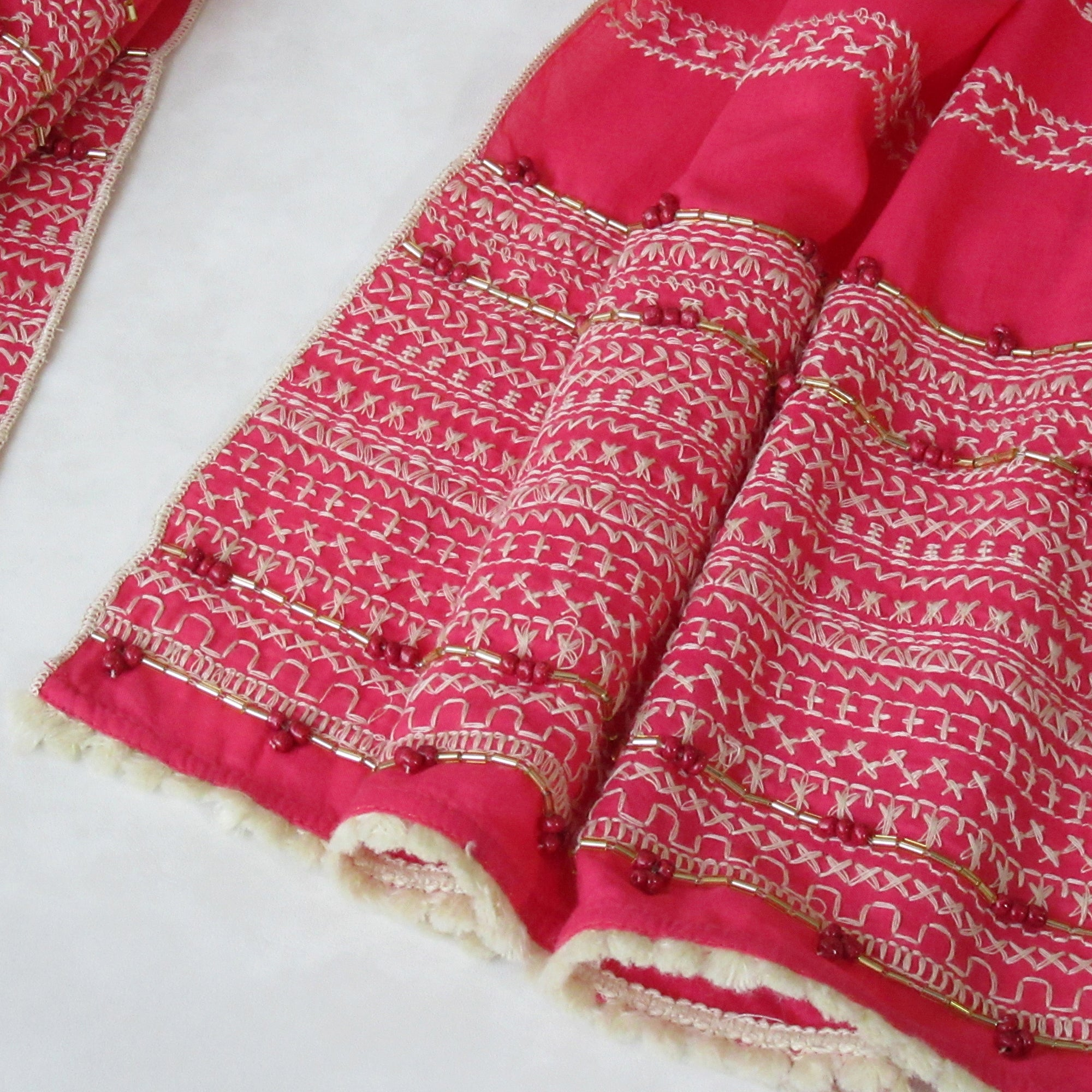 Hot Pink; Hand Embroidered Long Scarf