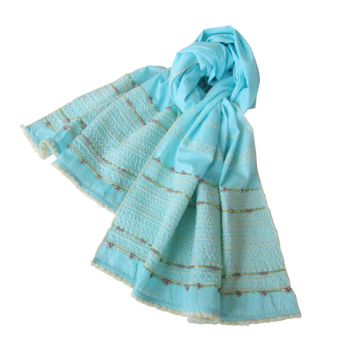Aqua-Blue; Hand Embroidered Long Scarf