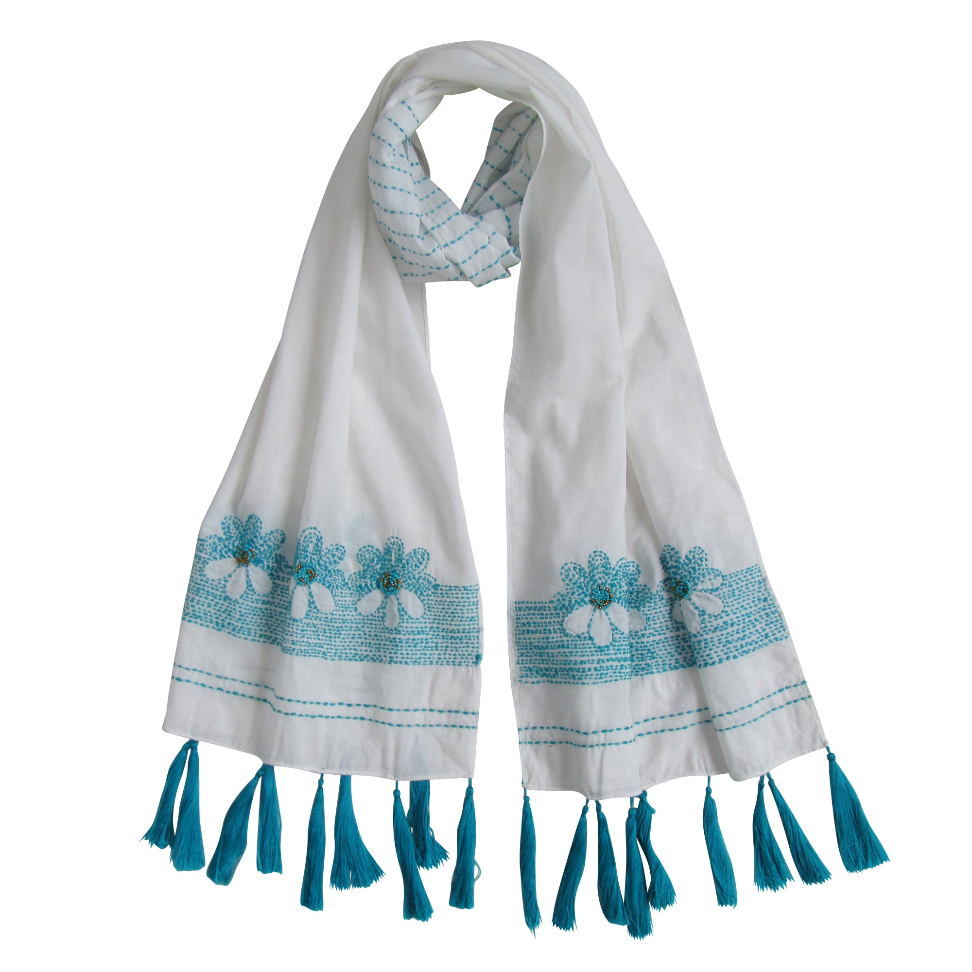 Hand-embroidered and Beaded Long Slim Scarf: White