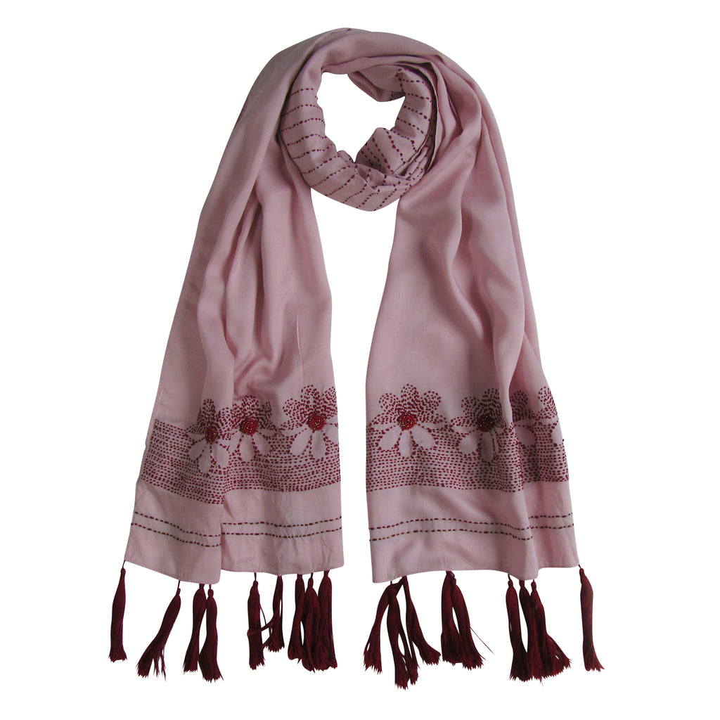 Hand-embroidered and Beaded Long Scarf: Old Rose