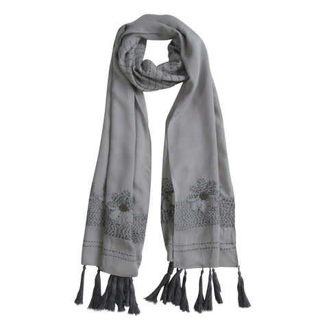 Hand-embroidered and Beaded Long Scarf: Stone Steel Grey