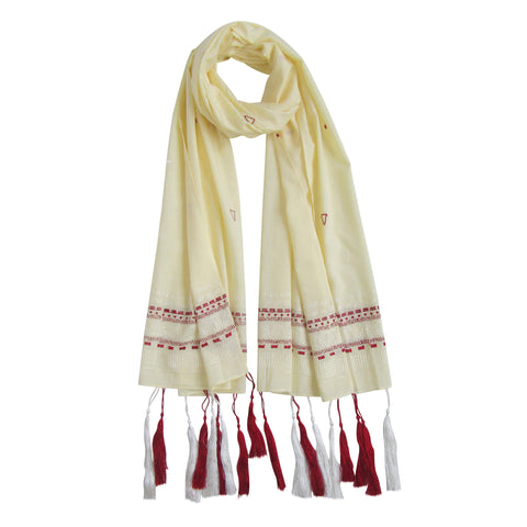 Tassel Love; Embroidered Cotton Long Scarves; Ecru