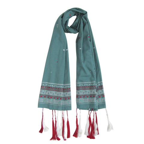 Tassel Love; Embroidered Cotton Long Scarves; Emerald Green