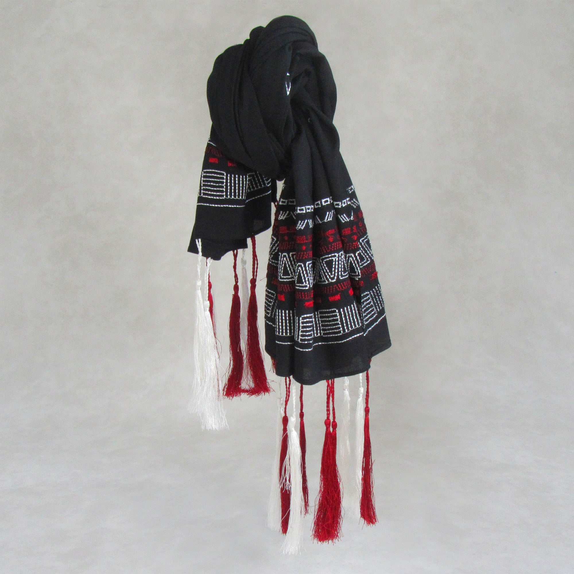 Tassel Love; Embroidered Cotton Long Scarves; Black