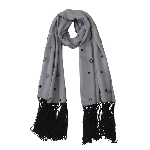Lace and Sequin; Embroidered Long Beach Scarves :Gray