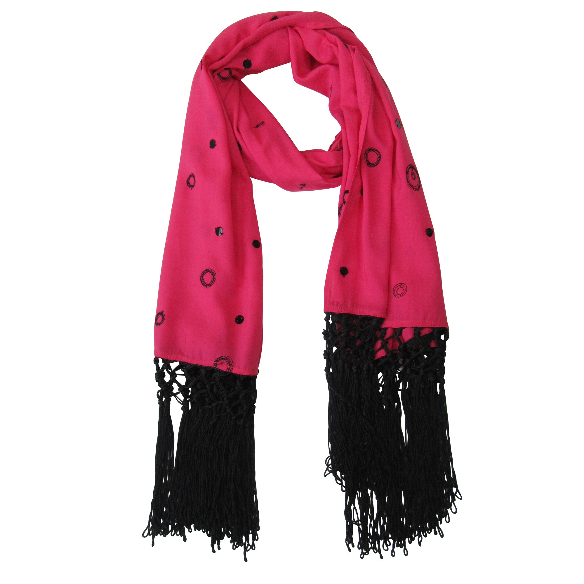 Lace and Sequin; Embroidered Long Beach Scarves : Indian Pink