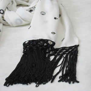 Lace and Sequin; Embroidered Long Beach Scarves : White