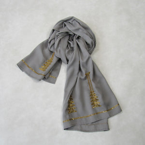 Sequin Embroidered Slim Neck Scarf: Holiday Collection : Steel Gray